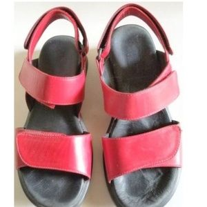 Wolky Red Velcro Sandals 37 or 6 1/2 to 7 Designed